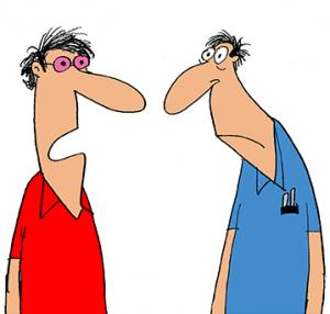 """Neurodermitis-Augen Cartoon, Mann mit vermeintlich rosa Brille zu Kollege: """"Nein, die ist nicht für den 3D-TV, ich habe entzündete Augen."""""""