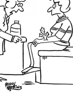 """Trockene-Haut Cartoon. Frau mit Kaktus am Arm. Aerztin sagt zu ihr: """"Du musst unbedingt etwas gegen deine trocken Haut tun."""""""